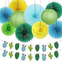 パーティーの装飾 トロピカルピンクフラミンゴパーティーハニカム装飾ティッシュペーパーファンの花の提灯ハワイアンサマービーチルアウパーティー