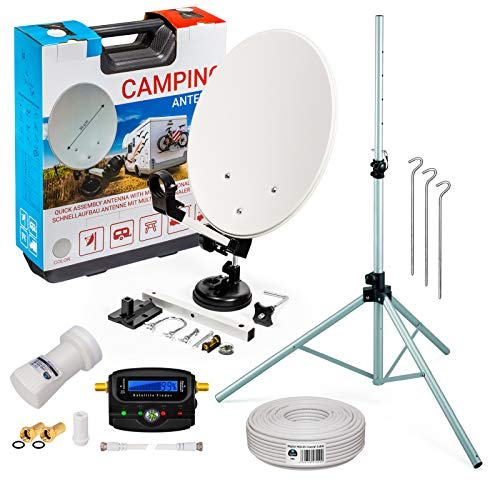 HB-DIGITAL Camping Sat Anlage im Koffer: Mini Sat Schüssel 40cm Hellgrau + Dreibein Stativ + UHD Single LNB 0,1 dB + SF99 SATFINDER + 10m SAT-Kabel inkl. F-Stecker + HDMI - Full HD Komplett Set
