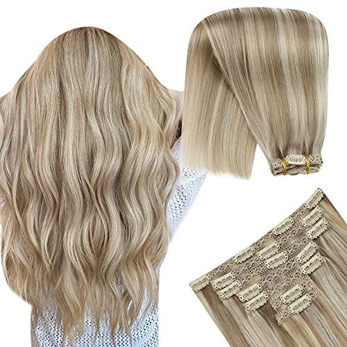 YoungSee 22 Pouces Clip Extension Cheveux Naturel - Blond Doré mixte Blond Moyen #16/22, 7pcs/120g - Rajout Extension Cheveux Clip Naturel Bresilien V
