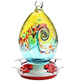 Premium Hummingbird Feeder for Outdoors,Glass Brand Humming Bird Feeders , Best Color with Hand Blown Glass Bird Feeder, Leakproof 30 Ounces,Easy to Clean & Filling,Give Hook&Ant Moat.(Swirl)