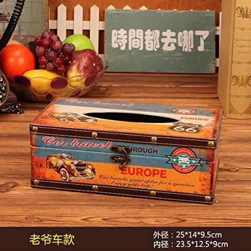 FNB Home Tissue Box im amerikanischen Stil, Retro Lederspender Box, Halter Desktop Coffee Shop dekorieren Papierhandtuch Serviette Aufbewahrungsbox, Oldtimer
