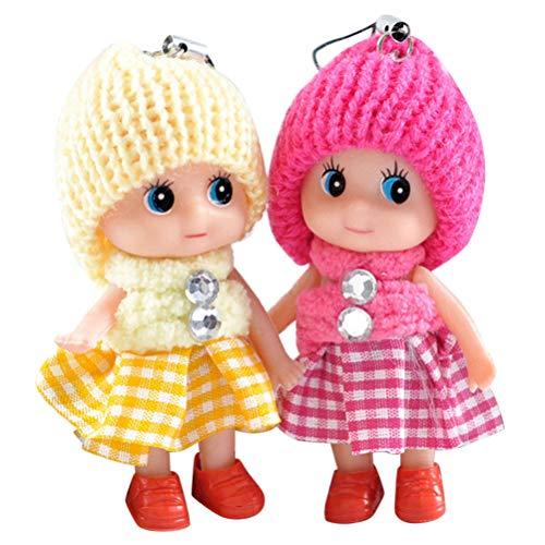Weneye Mini-Puppen, Kinderspielzeug,Weiche interaktive Babypuppen Spielzeug, Geburtstagsgeschenk,zufällige Farbe,2 Stück