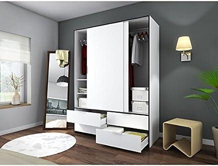 Générique Capri Armoire De Chambre 140 Cm   Blanc Mat Et Noir