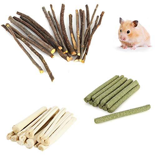 fulaide Hamster Spielzeug, 300g Apfelstift Timothy Hay, Sweet Bamboo Kauzahnpflege, Tiernahrung Hamster Natürliches Snack Kit für Kanichen Maus Chinchillas Kleintier