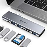 USB C Hub, Multiport USB C Adapter, Aluminum Thunderbolt 3 Type C Adapter Dongle MacBook Pro Accessories with 3 USB 3.0 Ports,TF SD Card Reader,USB-C PD Compatible for MacBook Pro 13″and 15″ 2018 2019