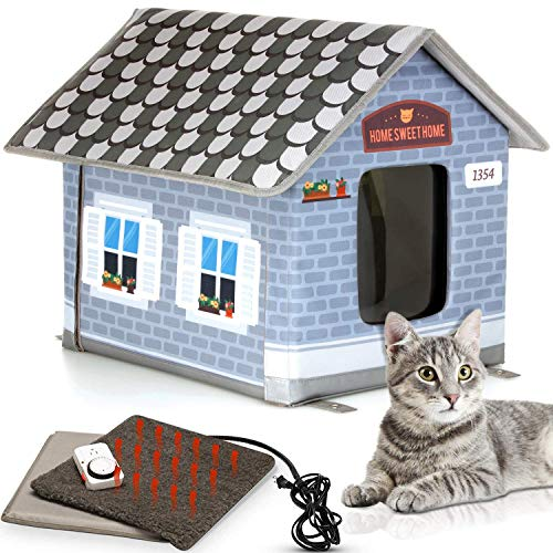 PETYELLA Heated cat Houses for Outdoor Cats in Winter - Heated Outdoor cat