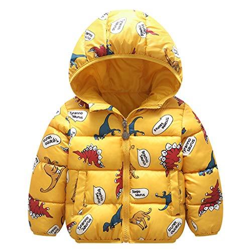 Chaqueta Bebé Niños Abrigo con Capucha para Niña Invierno Cálido Grueso Abrigo Dinosaurio Amarillo 4-5 Años