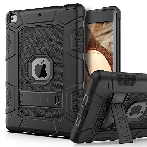 PBRO Case for iPad 9.7 2018/2017,iPad 9.7 iPad 5th / 6th Generation Shockproof Defender Kickstand Three Layer Protective Anti-Scratch Rugged Hybrid Case for iPad 2017/2018,Black