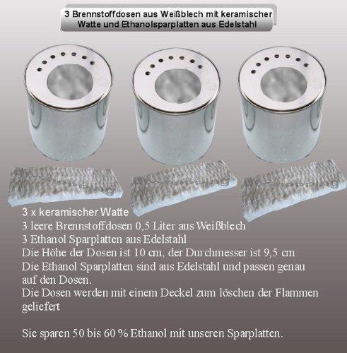 3 boîtes en fer blanc (0,5 litre, Vide) / 3 Plaques d'économie d'énergie INOX / Joignant Laine Céramique