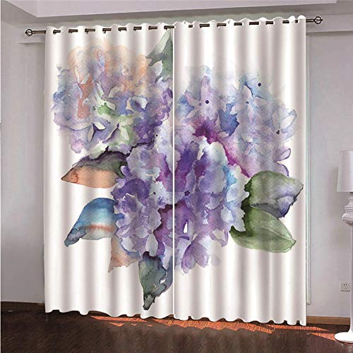 CLYDX Kids Blackout Curtains for Bedroom 3D Printed Thermal Insulated Curtains Eyelet Blackout Curtains for Bedroom 2 * W29.5 x L65 - Flower Art
