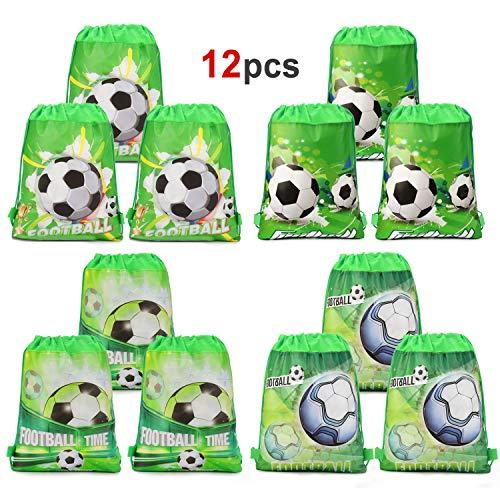 HOWAF 12 Piezas Bolsas con cordón de fútbol Bolsa Regalo Cumpleaños Escolar Bolsas Tela no Tejida para niños Regalo Fiestas Infantiles fútbol cumpleaños de niños