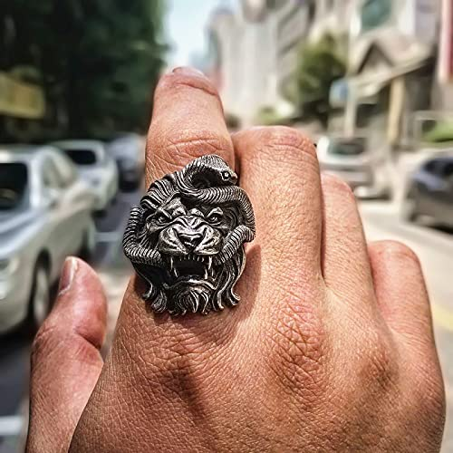 Halloween Fear Rocker Ring - Creative Gothic Lion and Snake Punk Thumb Ring, Anillo De Cola Unisex Fear Apilable De Gran Practicidad, León Y Serpiente, 12