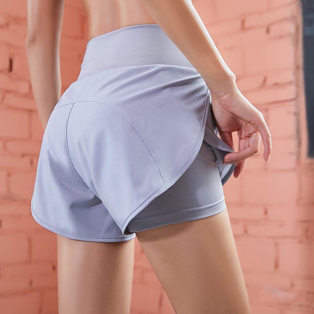 Workout Shorts for Women Running Double Layer Active Yoga Gym Sport Quick Dry Sweat Shorts.