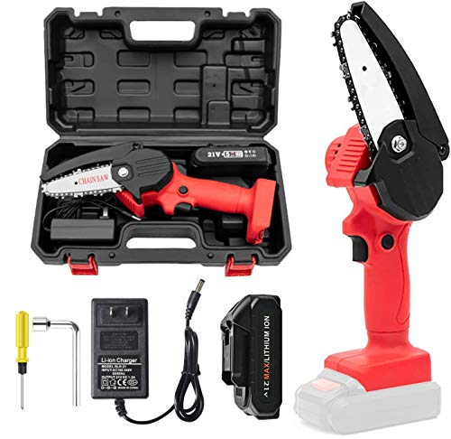MKSENSE Mini Chainsaw, 4-Inch Electric Chainsaw Handheld Mini Pruning Shears Chainsaw for Tree Trimming Wood Cutting, Charger Included (Red,1 Battery and Box)