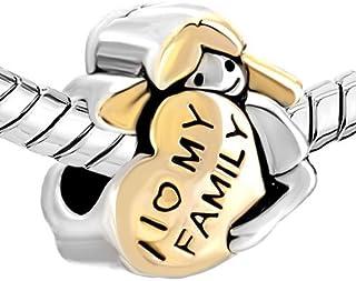 Jesse Ortega I Love My Family Charm Gold Hair Girl Mom Hugging a Gold Heart Beads for Snake Chain Bracelets