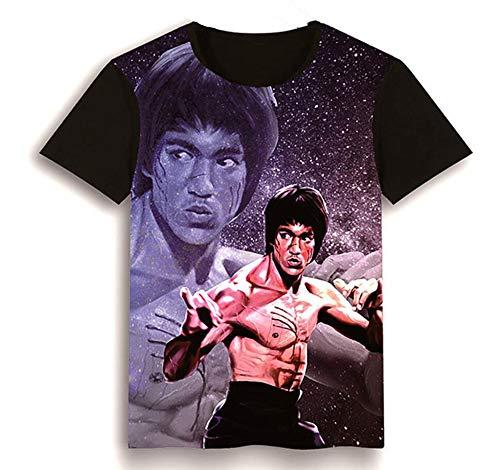Bruce Lee T-Shirt, Kung Fu Martial Art Kurzarm-T-Shirt Herren 3D-bedrucktes Sommer-T-Shirt