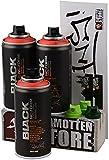 Montana Black Sprühdosen POCKET CANS 3 x 150ml Vorratspack - code red - exklusiv und nur original von klamottenstore