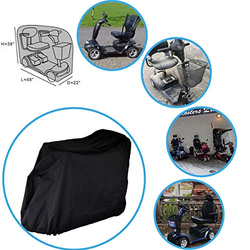 Mobility Scooter Storage Cover, 300D Oxford Fabric Scooter Weather Cover with 2 Buckles - Heavy Duty, Weatherproof, Durable with Free Storage Bag By Valchoose (Black)