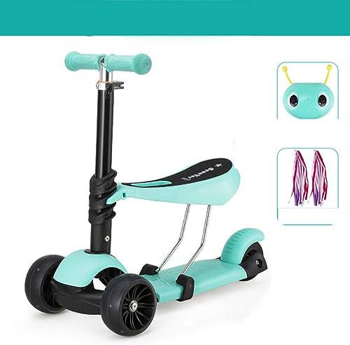 MOIMK 3 In 1 Kinderroller Dreiradscooter Kick Scooter Sitzscooter Mit Abnehmbarem Sitz Mit Verstellbarem Lenker Griff Für Kinder Ab 3 Jahre Bis 80Kg,Grün