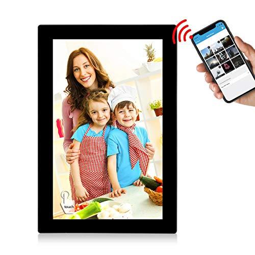 """WiFi Digitaler Bilderrahmen, YENOCK 10.1\""""Touchscreen 1280 * 800 Eingebauter 16-GB-Speicher Hochformat und Landschaft Sofort Foto- und Video-Sharing-Momente Einzigartiges UI-Design (Black WiFi Frame)"""