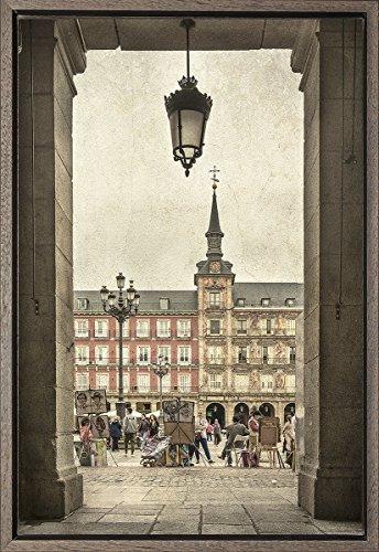 Cuadro enmarcado - Cuadro de la Plaza Mayor de Madrid - Fotografía artística y moderna de alta calidad - Listo para colgar - Hecho a mano en España (40_x_60_cm)