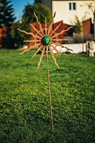 Ferrum Art patina tuinsteker tuin staaf bed steker tuindecoratie zon bal met glazen bol - Afmetingen: staaf 100 cm/motief 57 cm exclusief handwerk
