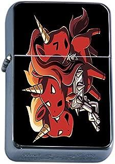 Devil Unicorn Flip Top Oil Lighter Em1 Smoking Cigarette Silver Case Included
