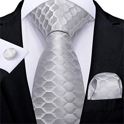 WOXHY Cravate Homme Argent Blanc Rayé Conception Cravate De Mariage en Soie Hanky Bouton De Manchette Cravate Ensemble Fashion Bussiness Party