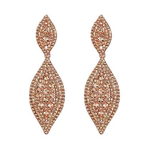 EVER FAITH Orecchini Cristallo Matrimonio Sposa 2 Foglia goccia Orecchini pendente Colore Champagne Rosa Oro-fondo
