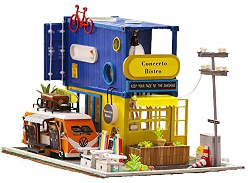 Casa De Muñecas Contenitore Creativo,3D con Cubierta Antipolvo,Mini Kit De Muebles De Madera para Bricolaje Casa De Muñecas,Casa De Muñecas En Miniatura De Bricolaje con Mueble,cumpleaños Regalos