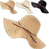 3 Piezas Sombrero de Playa de Verano con ala Ancha para Mujer Pamelas Empacable de Algodón del Sol para Viaje