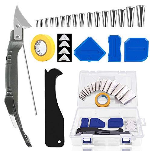 Migimi Juego de 30 herramientas de juntas de silicona, con junta de herramienta/boquilla caulk, boquilla de cola de acero inoxidable, boquilla para pegamento de vidrio, dispositivo de cola de goma