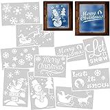 alles-meine.de GmbH 8 Stück _ große XL Schablonen Vorlagen - z.B. für Schneespray - je Schneeflocken / Weihnachtsmann / Schriftzüge & Text / Weihnachten - 50 cm - für Fensterbild..