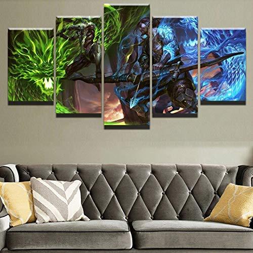 CXDM Modern Wohnkultur Leben Raum Modular 5 Stücke Overwatch Genji und Hanzo Poster Spiel Malerei Segeltuch HD-Druck Wandkunst Bilder,A,30×50×2+30×70×2+30×80×1