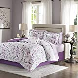 9 Piece Victorian California King Comforter Set Modern Contemporary Purple Leaves All Over Floral Bedding Set Ultra Soft Bed Set Paired Beautifully with Decorative Pillow Shams & Matching Bed Sheets