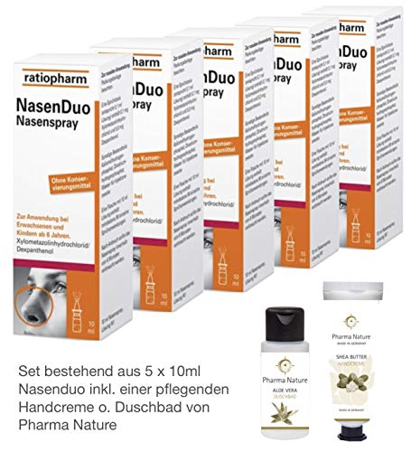 Nasenduo Nasenspray Ratiopharm 5 x 10 ml Sparset inkl. einer pflegenden Handcreme o. Duschbad von Pharma Nature