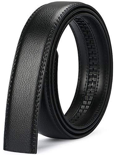 Nelbons Herren Gürtel Ratsche Automatik Gürtel für Männer 35mm Breit Ledergürtel, Ohne Schnalle (Black, Länge 140cm 56