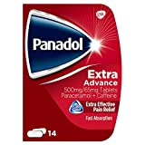 Panadol, Paracetamol Caffeine Pain Relief Tablets 500mg/65mg Extra Advance , Red, 14 count