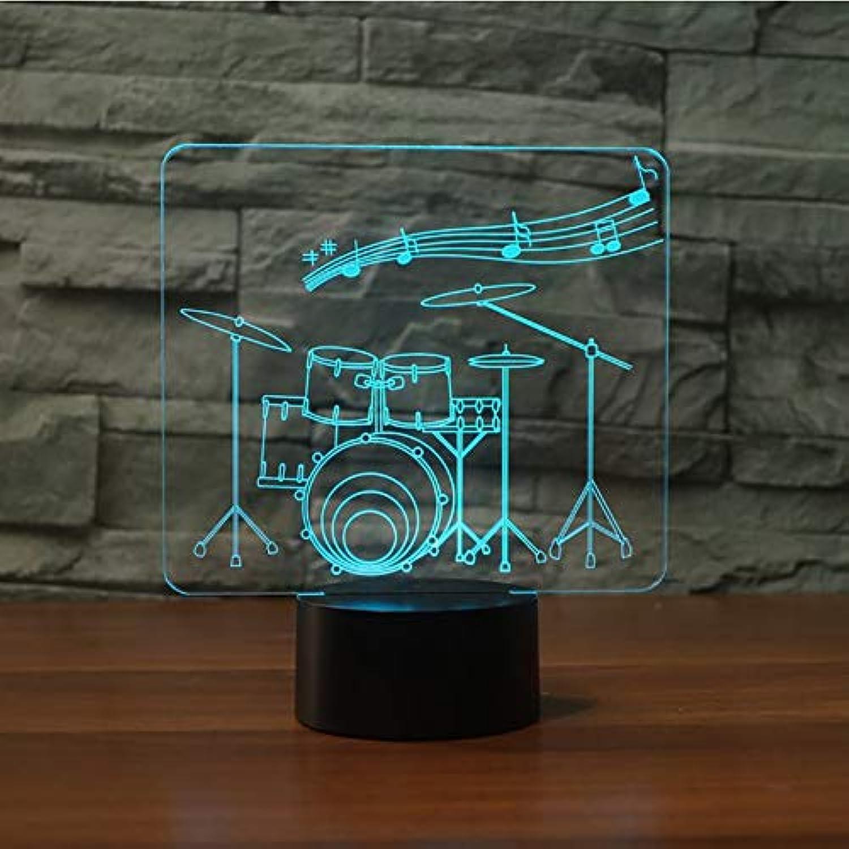 Zyue Drum Set 3D Nachtlicht 7 Farbwechsel Fernschalter Led 3D Schreibtisch Tischlampe Musikinstrumente Lampe Atmosphre,Blautooth-Lautsprecher