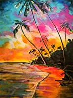 DIY 数字 油絵 塗り絵 キット 大人 子ども 塗り絵 海の美しい景色 デジタル油絵 手塗り 数字キットによる絵画 絵かき インテリア 壁飾り ホームデコレーション 40x50cm(額縁なし)