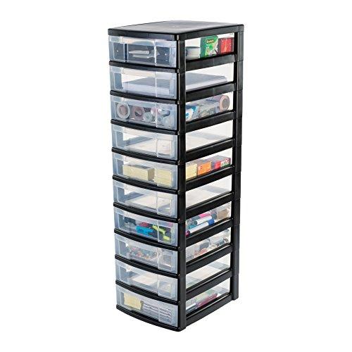 IRIS, schuifladenkast/schuifladenbox/rolcontainer/gereedschapskist 'New Chest', NMC-010, met wielen, kunststof, zwart/transparant