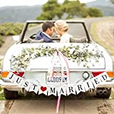 JUST MARRIED Wedding Banner Set - Wedding Decorations for Reception, Bridal Shower and Engagement Photo Prop,Car Decorations