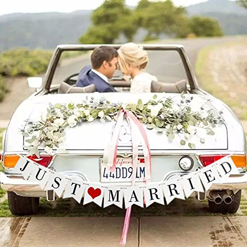 JUST MARRIED Wedding Banner Set, Wedding Decorations for Reception, Bridal Shower and Engagement Photo Prop,Car Decorations
