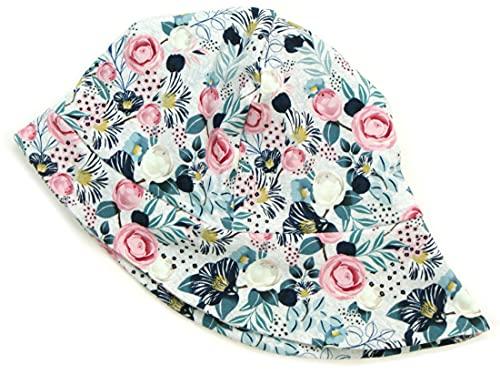 Kleine Könige Sonnenhut Sommer Mütze Baby Mädchen · Modell Blumen Charming Flowers Mint · Ökotex 100 Zertifiziert · Größe 98/104