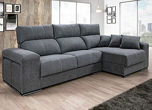 Mueble Sofa Chaiselongue, 3 plazas 290 cms, Asientos Viscoelastica, Subida A Domicilio, Gris ref-11