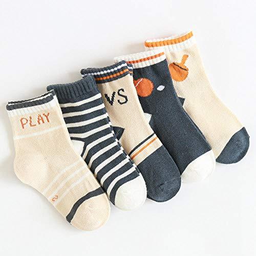 POYANG 5 Pares de nuevos Calcetines para niños de otoño e Invierno, Calcetines de algodón para niños y niñas de Dibujos Animados para Mantener al bebé Caliente