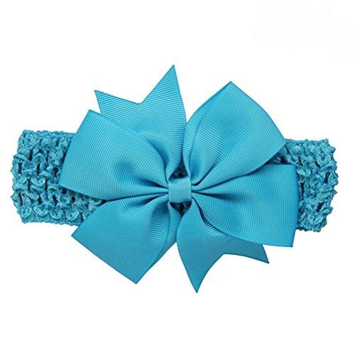Huhu833 Baby Mädchen Stirnbänder Bowknot Haar Zusätze für Mädchen Säuglings Haarband (Blau)