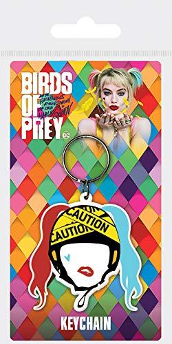 Birds of Prey Schlüsselanhänger Harley Quinn Caution Gummi 4,5 x 6 cm