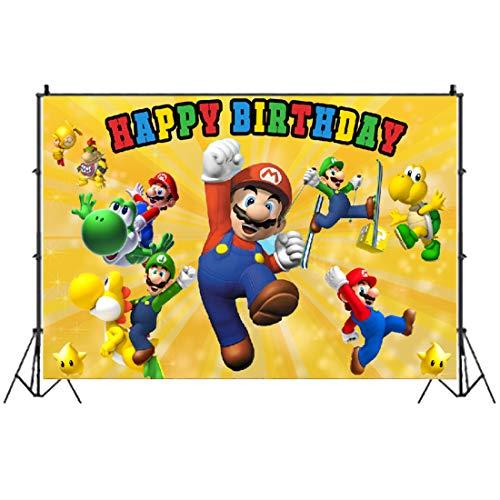 Super Mario Bros Photo Backdrops HANEL-Mario Party Decoration Photo Backdrop Cake Table Decoration Banner Kids Studio Props Vinyl Hintergrundtuch for Kids Birthday Party Decoration Boys Baby Shower