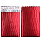 Metallic Matte Red Bubble Mailers Mailing Padded Envelopes 4x8 Inch- Self-seal Closure Bubble Shipping Bag 25pcs